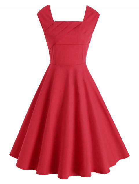 Ruched Sleeveless Vintage Dres - RED XL