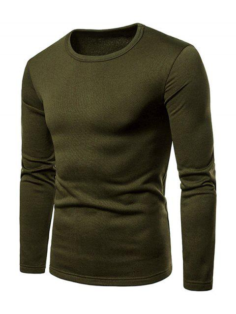 Basic Solid Color Fleece T-shirt - ARMY GREEN L