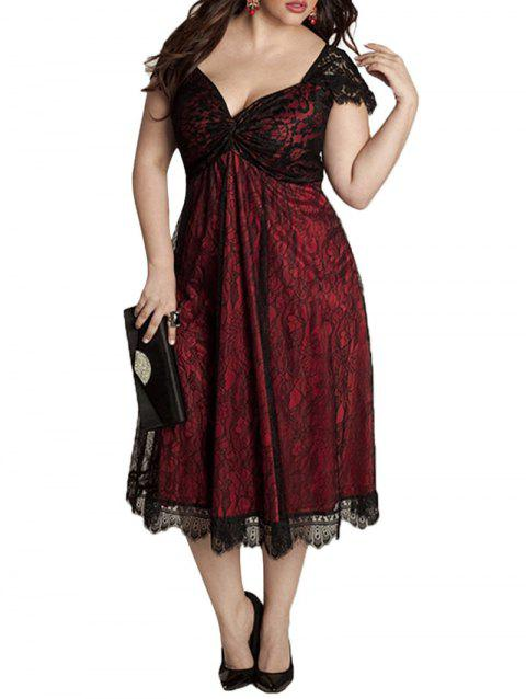 Plus Size Sweetheart Neck Lace Dress - RED WINE L