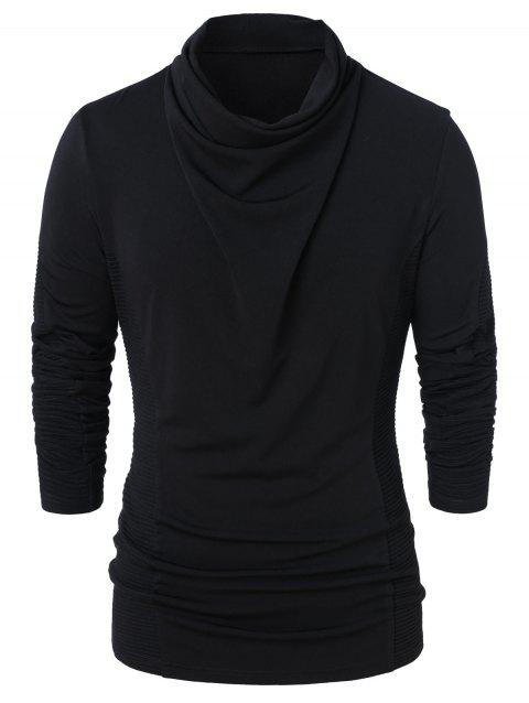 Cowl Neck Long Sleeve Solid Top - BLACK XL