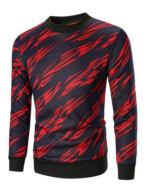 Geometry Pattern Pullover Fleece Sweatshirt - RED XS