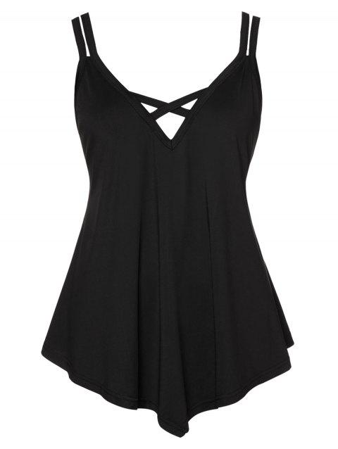 Plus Size Criss Cross Asymmetrical Cami Top - BLACK 1X
