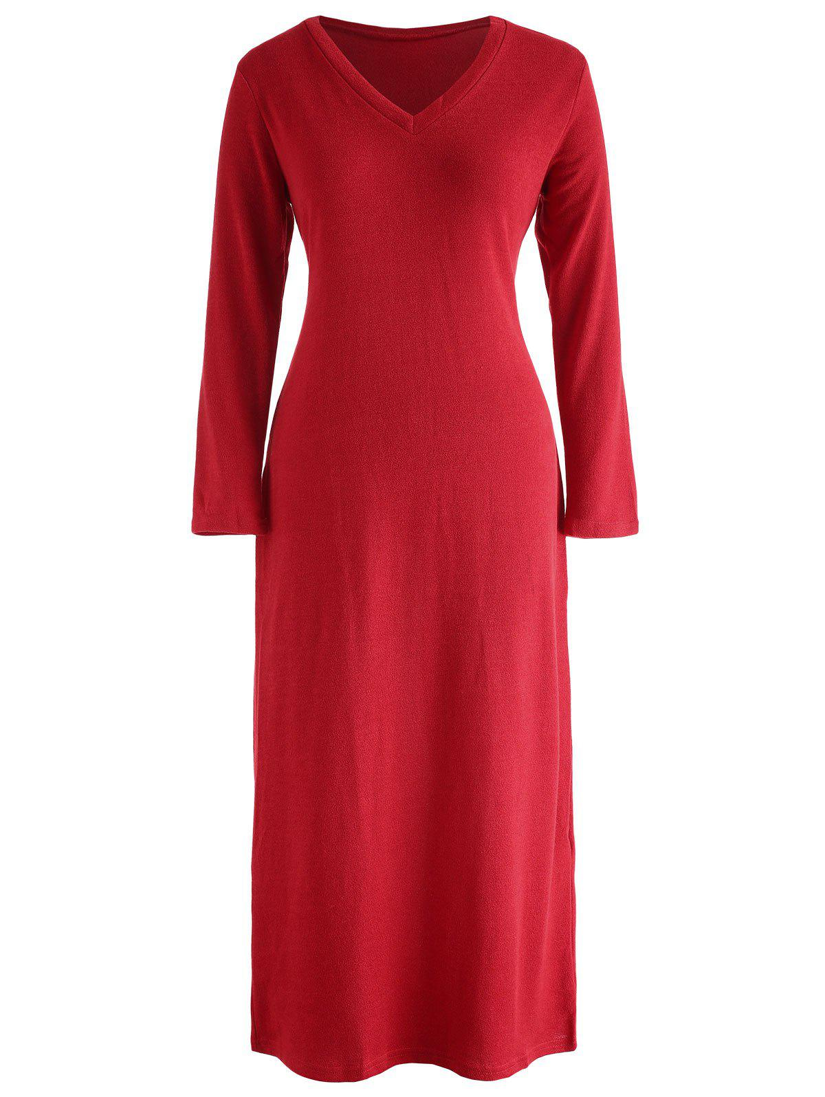 V Neck Maxi Knitwear Dress - CHERRY RED L