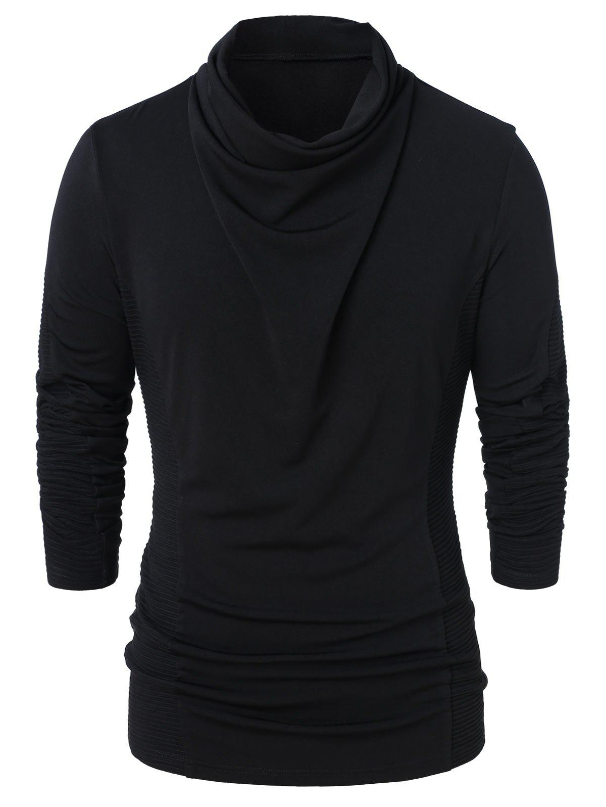Cowl Neck Long Sleeve Solid Top - BLACK 2XL