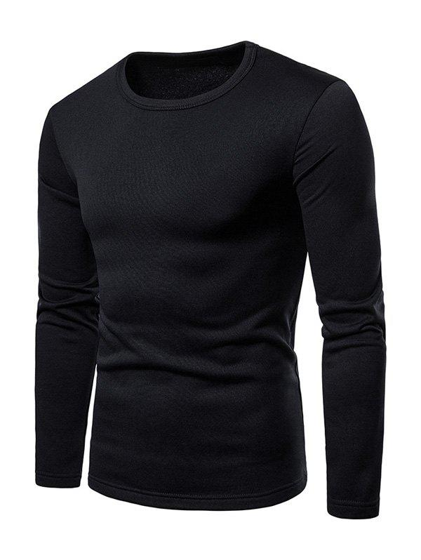 Basic Solid Color Fleece T-shirt - BLACK 2XL
