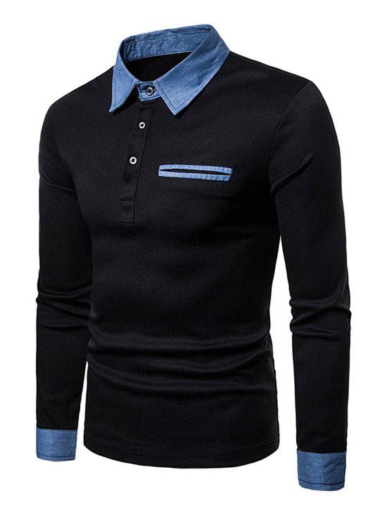 Image of Half Button Turn Down Collar T-shirt