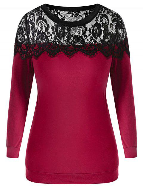 Plus Size Floral Lace Insert Sweatshirt - ROSE RED 2X