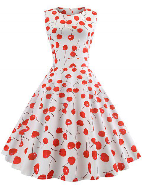 Cherry Print Belted A Line Dress - WHITE M