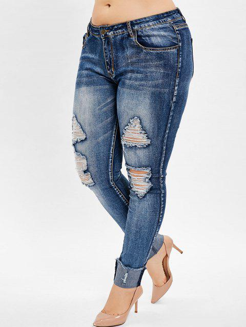 Plus Size Zip Fly Ripped Pencil Jeans - LAPIS BLUE 1X