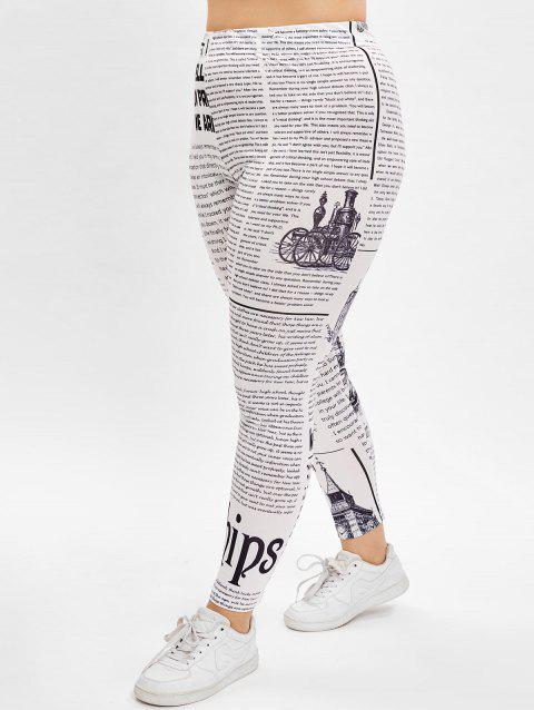 Plus Size Newspaper Print Skinny Leggings - WHITE 4X