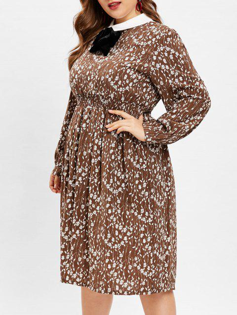 Plus Size Bowknot Embellished Floral Print Dress - CHESTNUT 3X