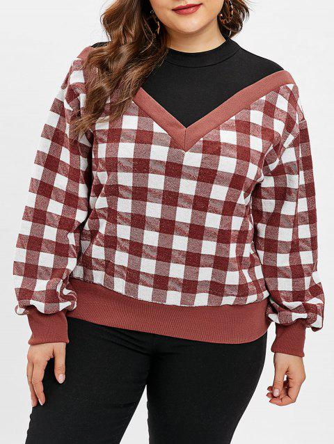 Plus Size Gingham Print Faux Two Piece Sweatshirt - CHERRY RED 2X