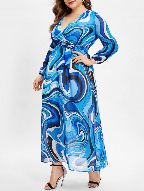 Belted Abstract Print Plus Size Floor Length Dress - BLUE 1X