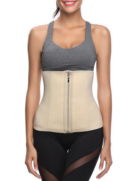 Zip Up Stretch Waist Corset - BLANCHED ALMOND L