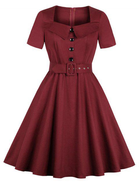 Plus Size Short Sleeve Square Neck Swing Dress - RED WINE 2X