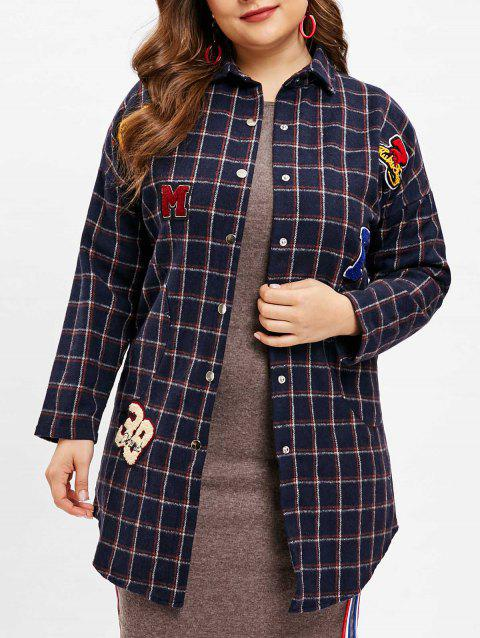 Plus Size Plaid Snap Button Coat - MIDNIGHT BLUE 2X