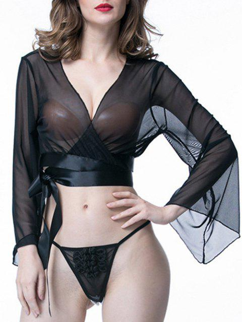See Through Mesh Wrap Top - BLACK ONE SIZE