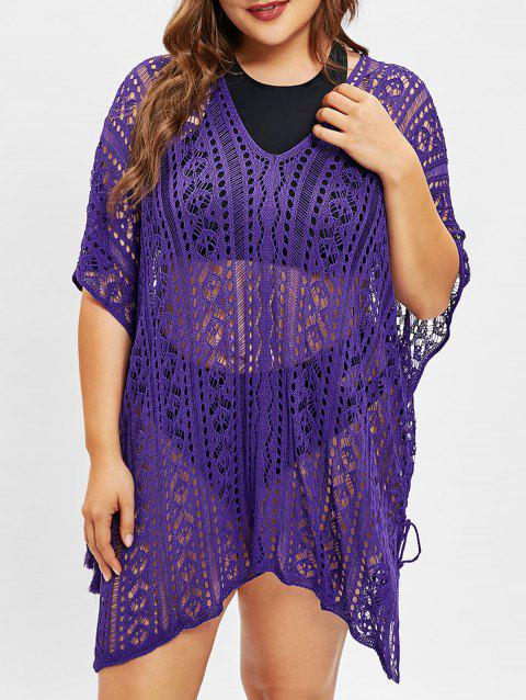 Openwork Batwing Sleeve Plus Size Cover Up - PURPLE AMETHYST ONE SIZE