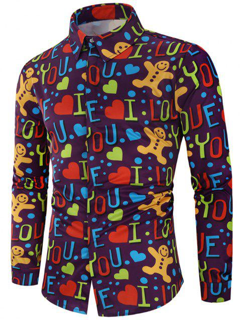 Valentine's Day Letters Heart Print Casual Shirt - multicolor 2XL