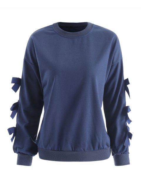 Long Sleeve Bow Pullover Sweatshirt - BLUE XL
