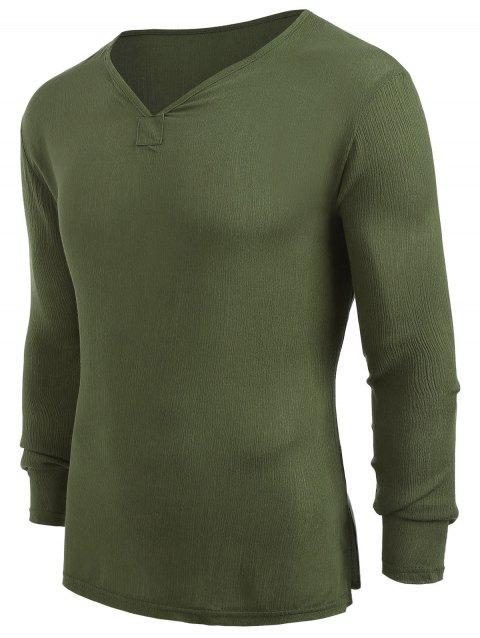 Long Sleeves V-Neck High Low Shirt - ARMY GREEN 2XL