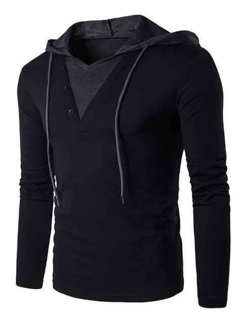 Drawstring Hooded Long Sleeve T-shirt - BLACK 2XL