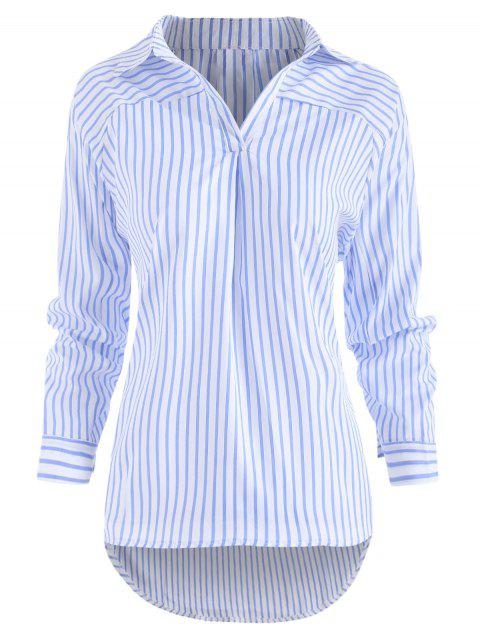 Long Sleeve Turn Down Collar Striped Shirt - multicolor S