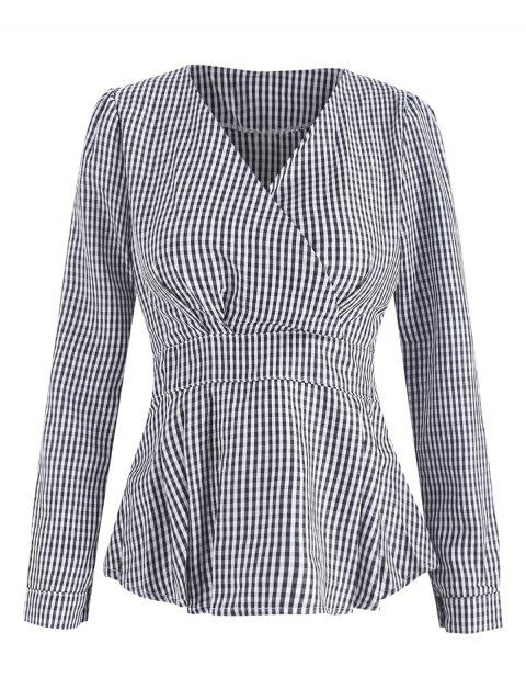 High Waist Wrap Checked Top - multicolor M