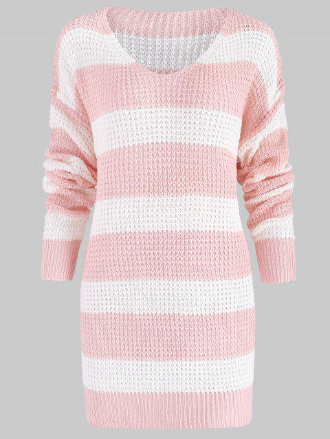 V Neck Oversized Striped Sweater - LIGHT PINK M