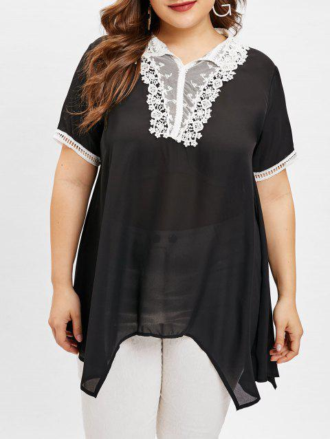 Plus Size Lace Panel Asymmetrical Blouse - BLACK 3X
