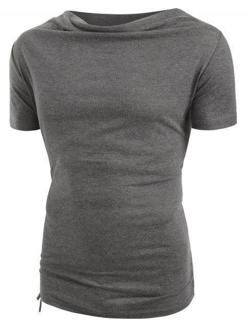 T-shirt Court en Couleur Unie à Cordon - Gris 2XL