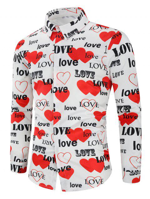 Love Letters Heart Printed Valentine's Day Shirt - multicolor L