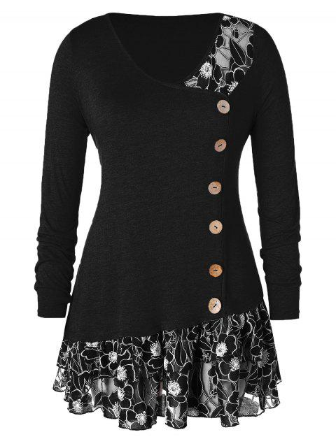 Plus Size Lace Trim Flounced Buttons T-shirt - BLACK 1X