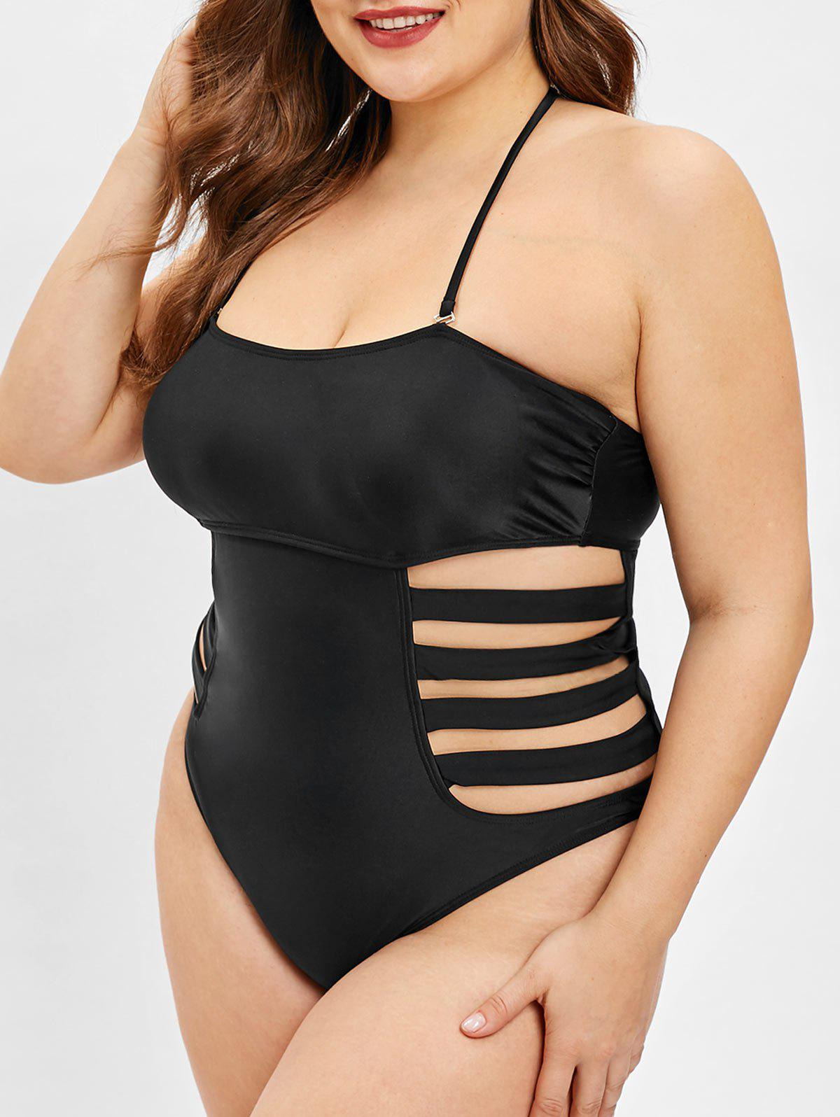 Plus Size Ladder Cut Out Halter Neck Swimwear - BLACK L