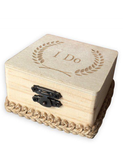 I Do Wooden Wedding Ring Box - BURLYWOOD