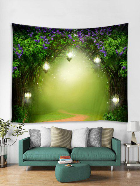 Dreamy Lavender Light Forest Pathway Print Tapestry - GREEN APPLE W59 X L59 INCH