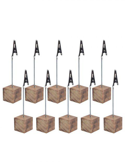 10 Pcs Wood Base Clip Table Number Holders - BURLYWOOD