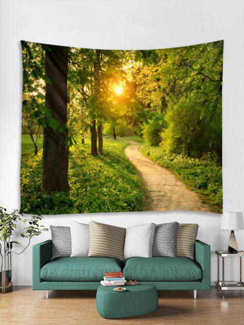 Sunlight Forest Trail Print Tapestry Wall Hanging Decoration - multicolor W59 X L51 INCH
