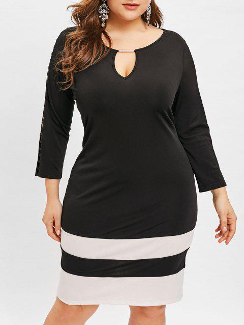 Plus Size Keyhole Contrast Bodycon Dress - BLACK 4X