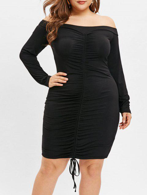 Plus Size Off The Shoulder Drawstring Ruched Dress - BLACK 1X