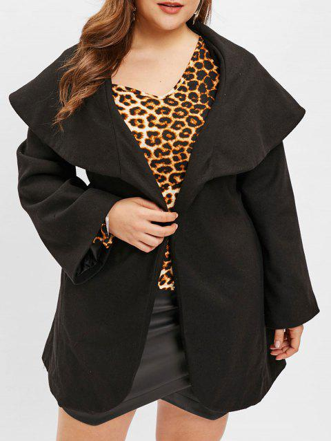 Plus Size Turn Down Collar Belted Coat - BLACK 1X