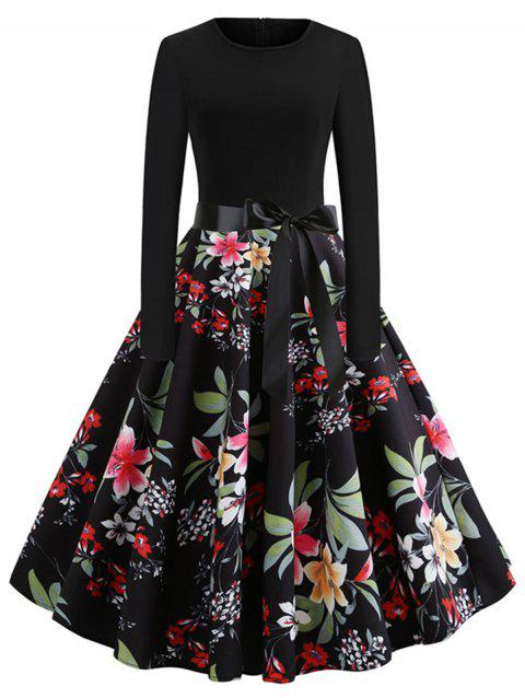 Flower Long Sleeve A Line Dress - BLACK 2XL