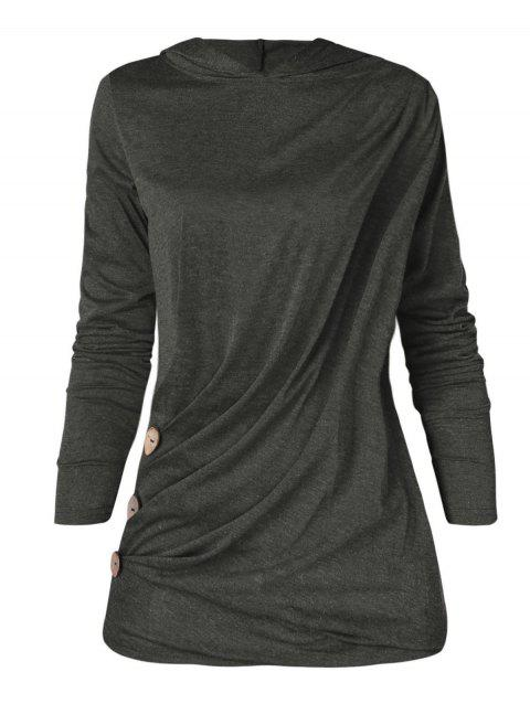 Plus Size Long Sleeve Button Detail Hoodie - DARK GRAY 1X