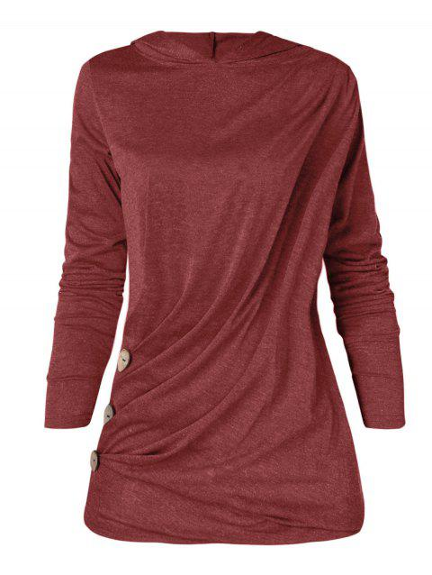 Plus Size Long Sleeve Button Detail Hoodie - BEAN RED 2X