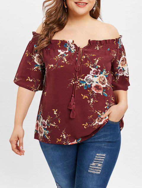 Floral Print Plus Size Tassel Drawstring Blouse - RED WINE L