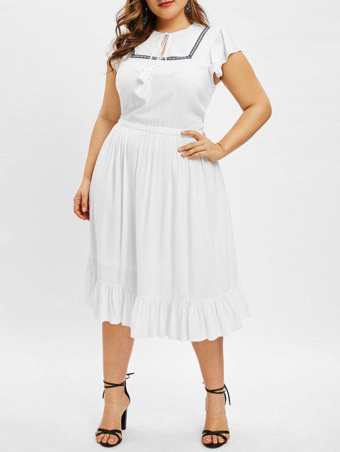 Plus Size Ruffle Hem Tassel Drawstring Dress - WHITE 3X