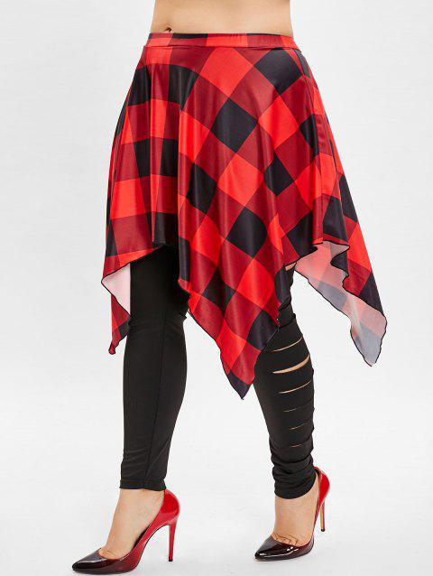Plus Size Plaid Panel Skirted Leggings - BLACK 5X