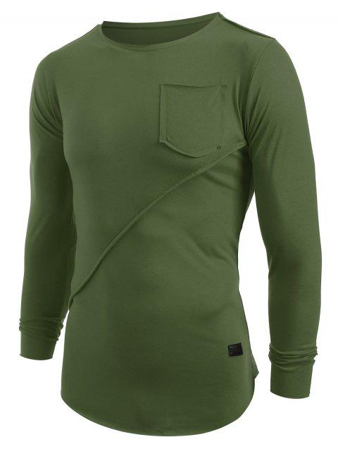 Applique Frontal Pocket Long Sleeves T-shirt - ARMY GREEN L
