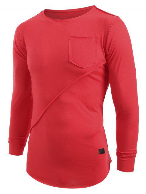 Applique Frontal Pocket Long Sleeves T-shirt - LAVA RED 2XL