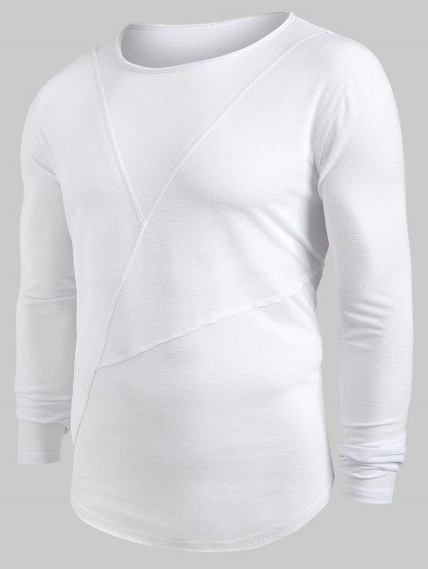 Solid Color Patchwork Long Sleeves Shirt - WHITE L